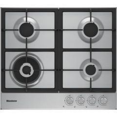 Blomberg GEN73415 GEN73415 60cm Gas Hob 4 Burners, Front Controls, Heavy duty Cast Iron Pan Supports